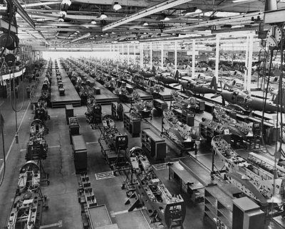Usine d'assemblage de Bell Aircraft Corporation située à Buffalo, dans l'Etat de New York, pendant les années 1940. Cette unité produisait les P-39.