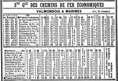 Les horaires du Valmondois-Marines, en Mai 1914