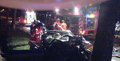 Mise en œuvre d'un v�hicule de secours routier (accident de nuit, Belgique, f�vrier 2006)