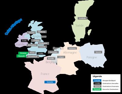Carte des Destinations au 10 Juin 2008