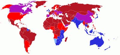 Carte du monde montrant les sens de circulation de chaque pays et les changements éventuels.??Conduite à droite??Conduite actuelle à droite, par le passé à gauche??Conduite à gauche??Conduite actuelle à gauche, par le passé à droite??Conduite actuelle à droite, par le passé à gauche et à droite à l'intérieur même des frontières