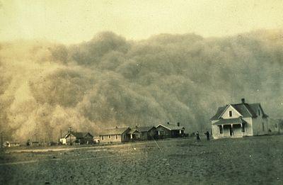 Effets du Dust Bowl: tempête de poussière dans le Texas en 1935.