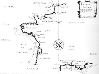 Carte du littoral fran�ais corrig�e par l'Acad�mie, mais encore tr�s �loign�e de la pr�cision actuelle des cartes marines ou terrestres