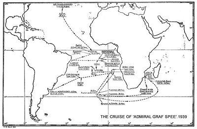 Le parcours du Graf Spee dans l'Atlantique Sud