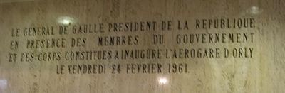 Plaque commémorative de l'inauguration de l'aérogare d'Orly Sud