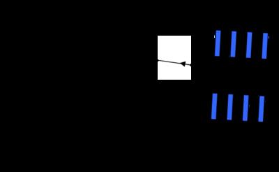 Trajectoire d'un ion dans l'analyseur � temps de vol en mode r�flectron