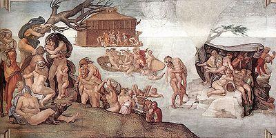 Le Déluge (Michel-Ange, 1508-1512)Fresque de la Création, Chapelle Sixtine