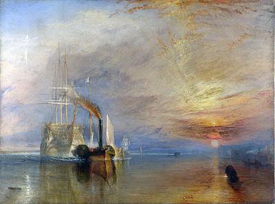 Le Téméraire conduit à la casse, de Turner, illustre parfaitement la fin de la marine à voile au profit de celle à vapeur, symbole de la 1re Révolution Industrielle