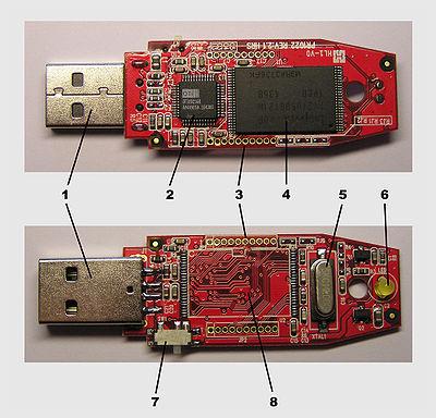 Clé USB sans sa coque protectrice