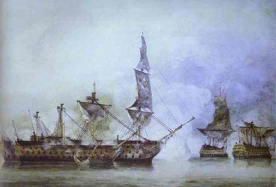 Le combat naval, l'ultime rôle du Man'o'war: le Victory à la bataille de Trafalgar, entouré de deux Man'o'War français.