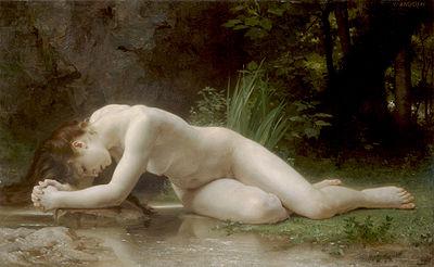 Biblis ou Psyché? (nom donné  à un grand miroir pour se voir tout entier), peinture néoclassique (œuvre de William Bouguereau - XIXesiècle)
