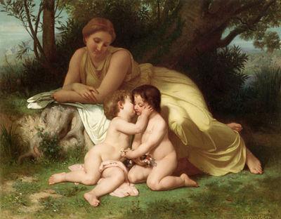 La peinture profane des idylles s'est developpée au XVIIIesiècle, après le rococo (ici, Bouguereau)