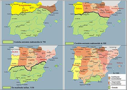 Histoire d'al-Andalus, et géostratégie de la péninsule ibérique: Évolution de la Frontière pendant la Reconquista, jusqu'aux guerres de Grenade