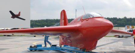 Planeur Messerschmitt Me 163 (en médaillon: Manching juillet 2006)