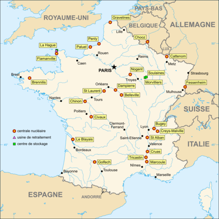 Centrales nucl�aires, sites nucl�aires et sites de stockage des d�chets radioactifs en france