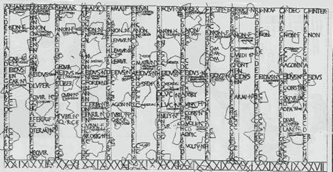 Une inscription du Calendrier romain. Ce calendrier précède la réforme Julienne du calendrier; on peut observer qu'il contient les mois Quintilis et Sextilis, et permet l'insertion d'un mois intercalaire. Il affiche également les nones, les ides, et le cycle hebdomadaire de 8 jours.