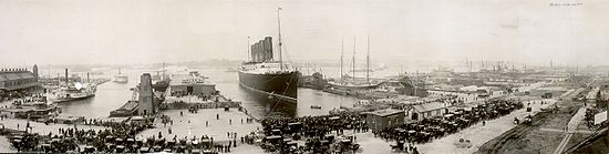 Le lusitania à l'arrivée de son voyage