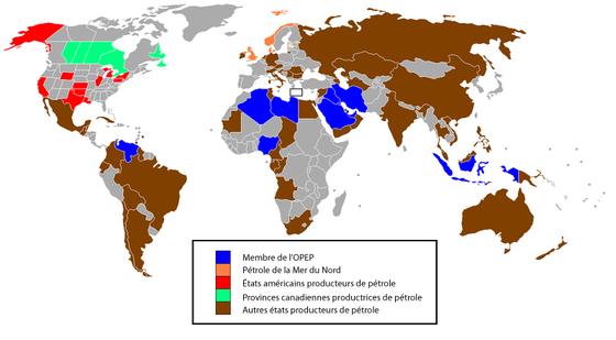 R�gions productrices de p�trole dans le monde