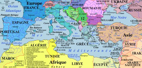 La mer M�diterran�e, carte politique
