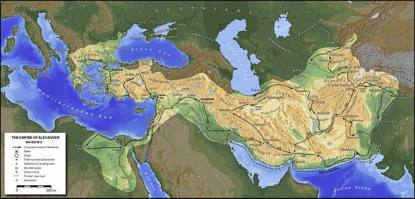 Exemple de carte créée avec GMT, ici l'empire d'Alexandre