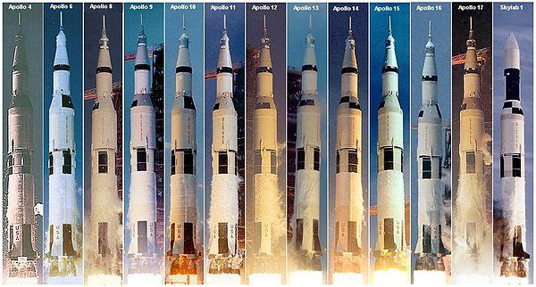 Les Saturn V furent lancées de jour ou de nuit, par plus ou moins beau temps, comme on peut le voir sur ce montage photo
