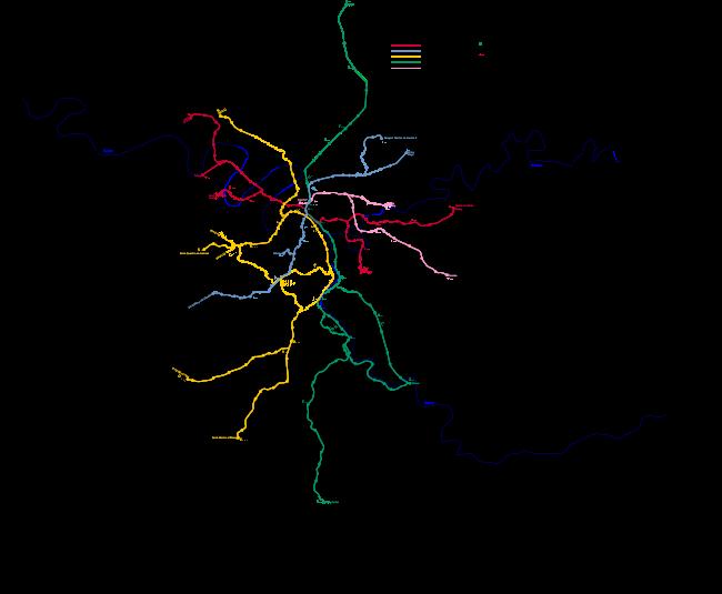 Plan du réseau de RER en 2007 en format vectoriel. Cliquez ici pour une version PNG