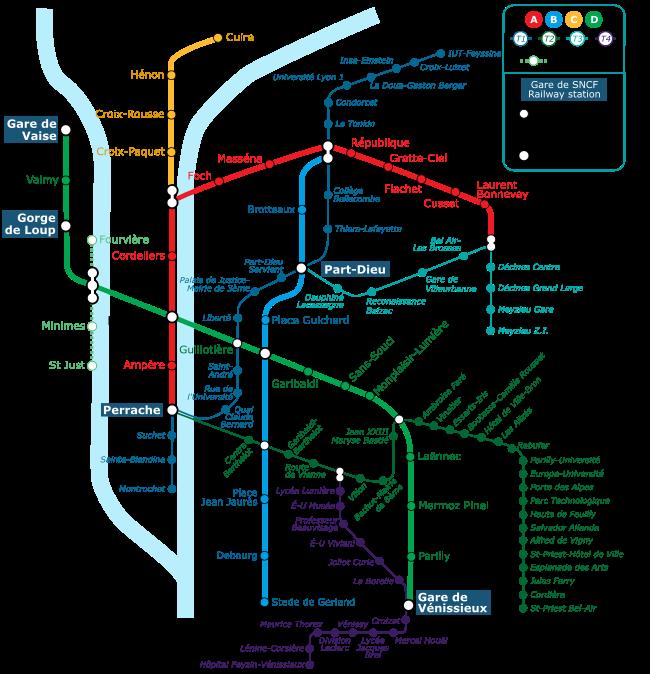 Un plan du réseau métro et tramway de Lyon.