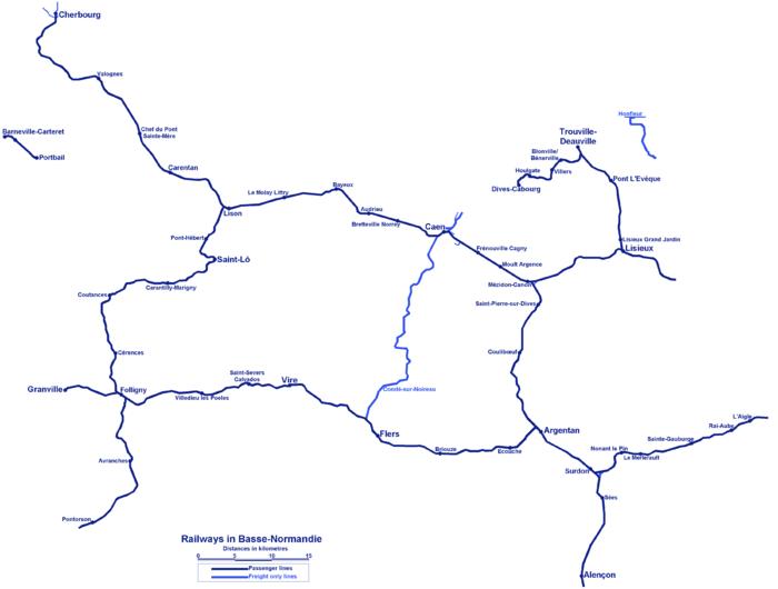 Plan des chemins de fer en Basse Normandie.