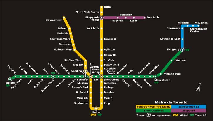 Un plan du métro de Toronto.