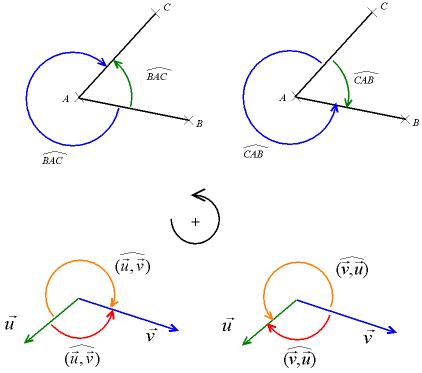 Angles orientés: l'orientation du plan permet de donner un signe à l'angle; l'illustration souligne l'égalité en alpha et alpha-2π