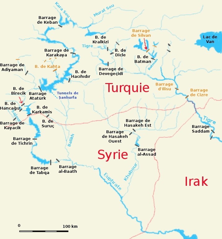 Vue générale des principaux ouvrages du haut bassin Tigre-Euphrate