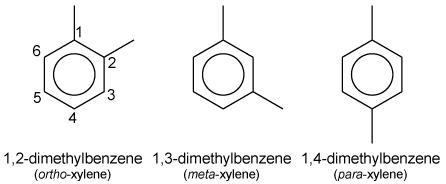 Les trois isomères du xylène