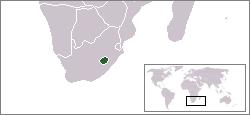 Le Lesotho (en vert) est totalement entouré par l'Afrique du Sud.