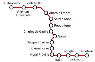 Un plan de métro de Rennes