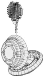 La capsule Stardust avec son collecteur de particules déployé.