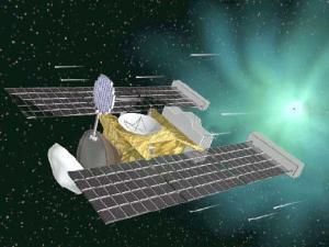 Vue d'artiste de la sonde Stardust derrière la comète Wild 2.