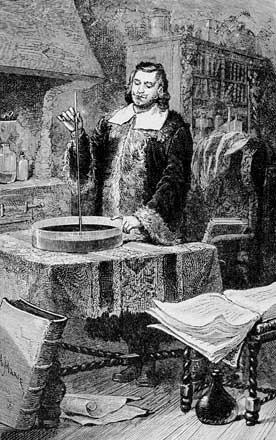 Torricelli inventant le baromètre à mercure