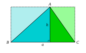 L'aire d'un triangle peut �tre calcul� en le d�composant en deux triangles rectangle.