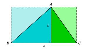 L'aire d'un triangle peut être calculé en le décomposant en deux triangles rectangle.