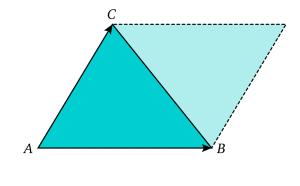 L'aire d'un triangle calculé à partir d'un parallélogramme.