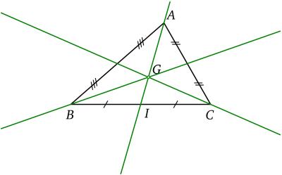 Médianes et centre de gravité d'un triangle