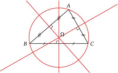 Médiatrices et cercle circonscrit d'un triangle.