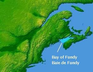 Position de la Baie de Fundy dans l'Est du Canada
