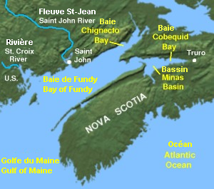 Carte de la Baie de Fundy